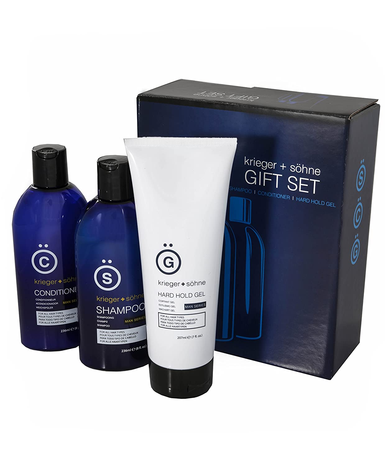 Best Gift Set For Men w/ Top Styling Products- Includes k+s Man Series Tea Tree Shampoo - Peppermint Oil Conditioner - Hard Hold Hair Gel - Top Ten for Birthday and a Popular Gift Men Will Love