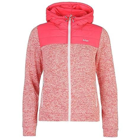 Lee Cooper acolchado Knit sudadera con cremallera y capucha para mujer rosa sudadera con capucha chaqueta