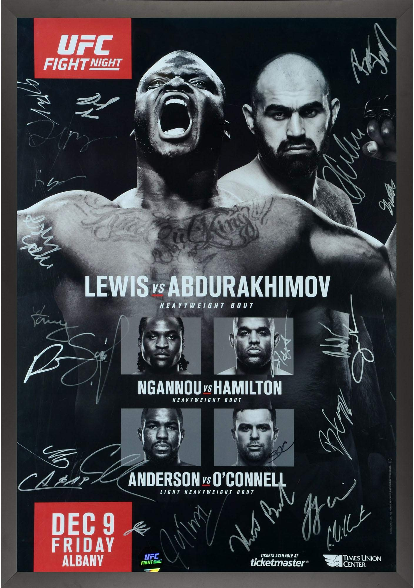 "UFC Fight Night 102 Lewis vs. Abdurakhimov Framed Autographed 27"" x 39"" 24 Signature Fight Poster Fanatics Authentic Certified"