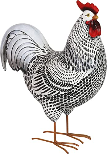 Exhart Black and White Rooster Garden Statue