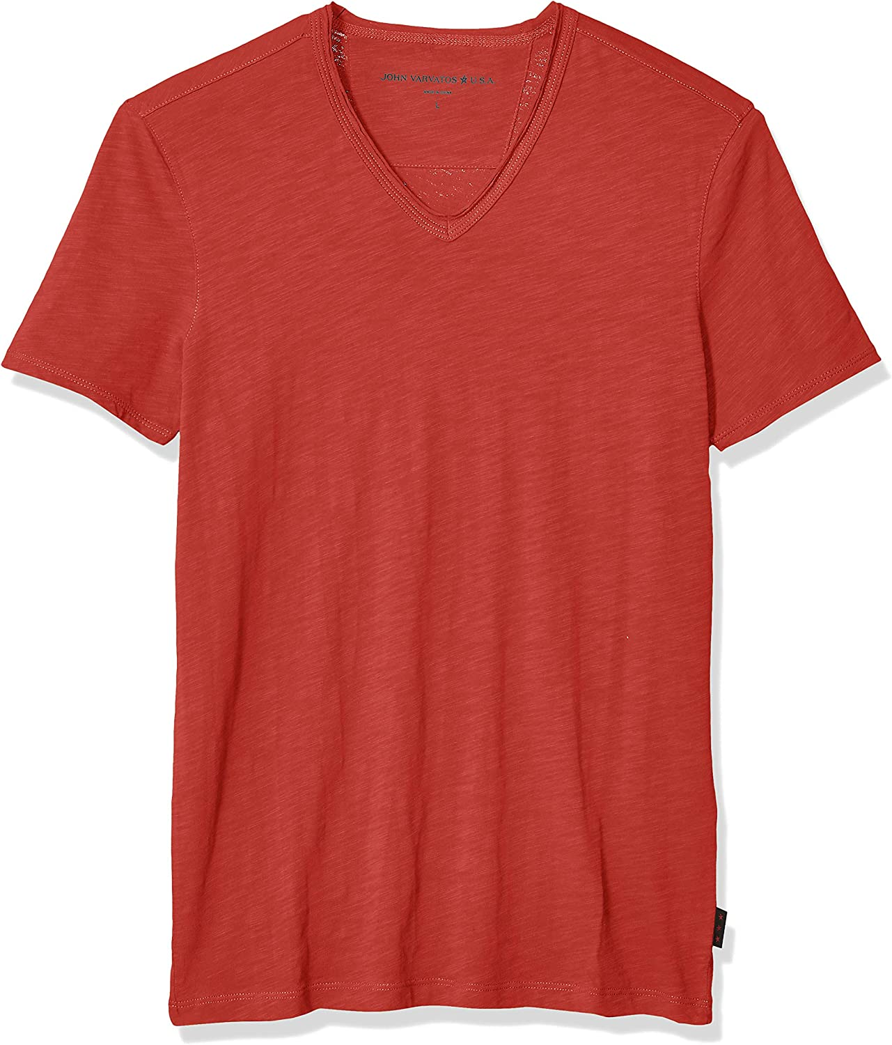 John Varvatos Star USA Men's Miles Short Sleeve Slub V-Neck with Cut Raw Edge