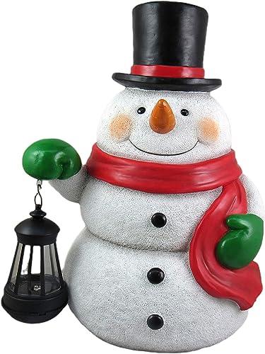 DWK Jolly Jingle Glow Snowman Color Changing Solar Lantern Statue | Yard D cor | Christmas Decorations | Yard Art | Outdoor Lantern Statue | Christmas Statue | Front Porch Decoration