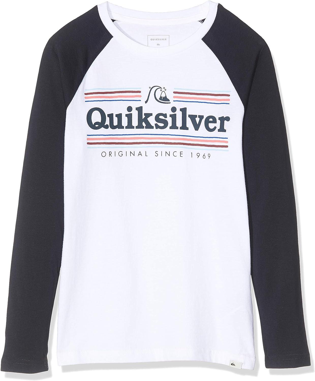 Quiksilver Get Buzzy - Camiseta De Manga Larga para Chicos 8-16 Camiseta De Manga Larga, Niños, White/Sky Captain, S/10: Amazon.es: Deportes y aire libre