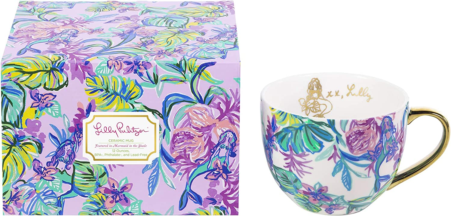 Lilly Pulitzer 12 Ounce Ceramic Coffee/Tea Mug with Gold Handle and Gift Box, Mermaid in the Shade