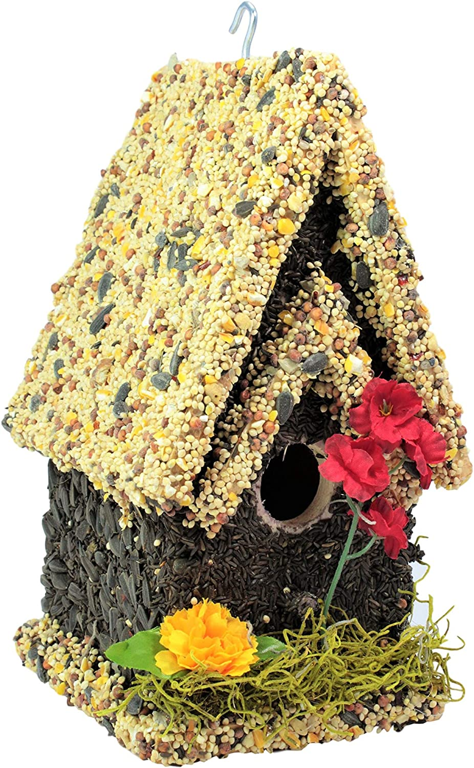 Edible Birdhouses  Reseedable Wooden Birdhouse Covered w/Birdseed   Squirrel Proof Bird Feeder  Made in The USA (TL)