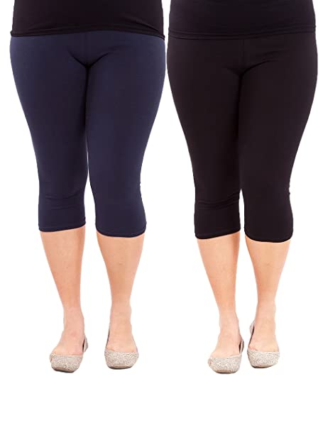 1d7485d429dad4 American Trends Women's Plus Size Stretch Modal 3/4 Smooth Capri Leggings  (FBA) 2 Pack Black & Navy 4XL Plus at Amazon Women's Clothing store: