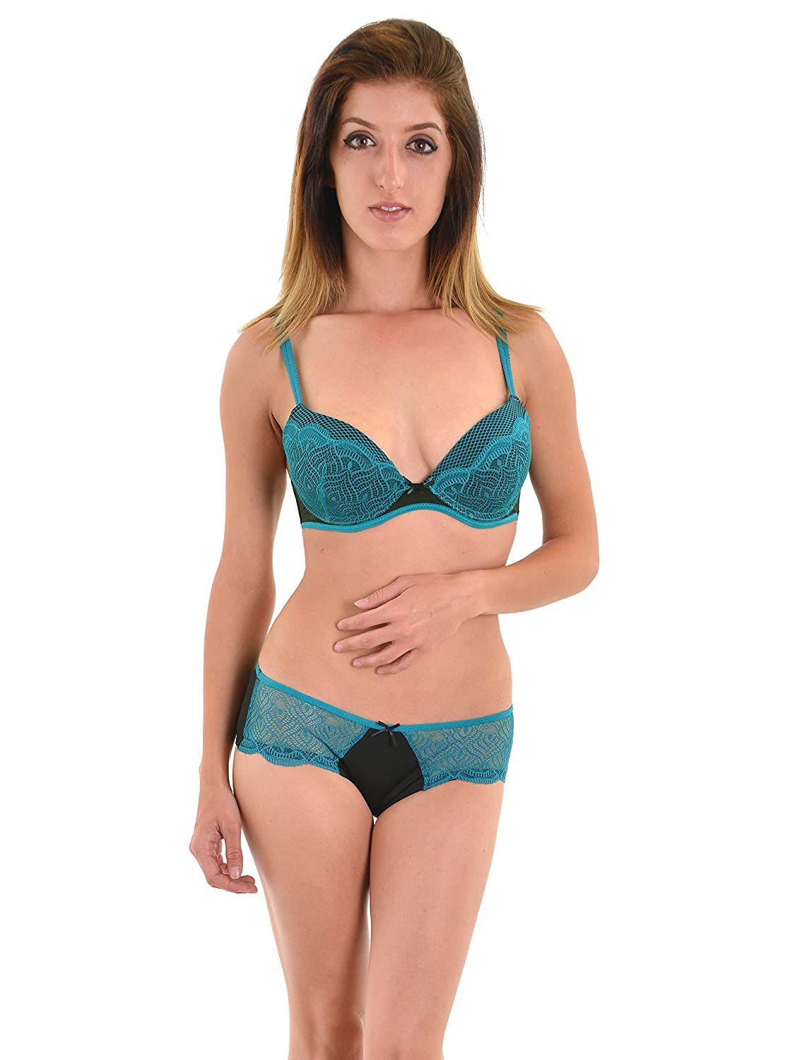 0909fcac04 Junior s Push Up Bra and Hipster Panty 2 Piece Set Teal Jade Lace Black at  Amazon Women s Clothing store