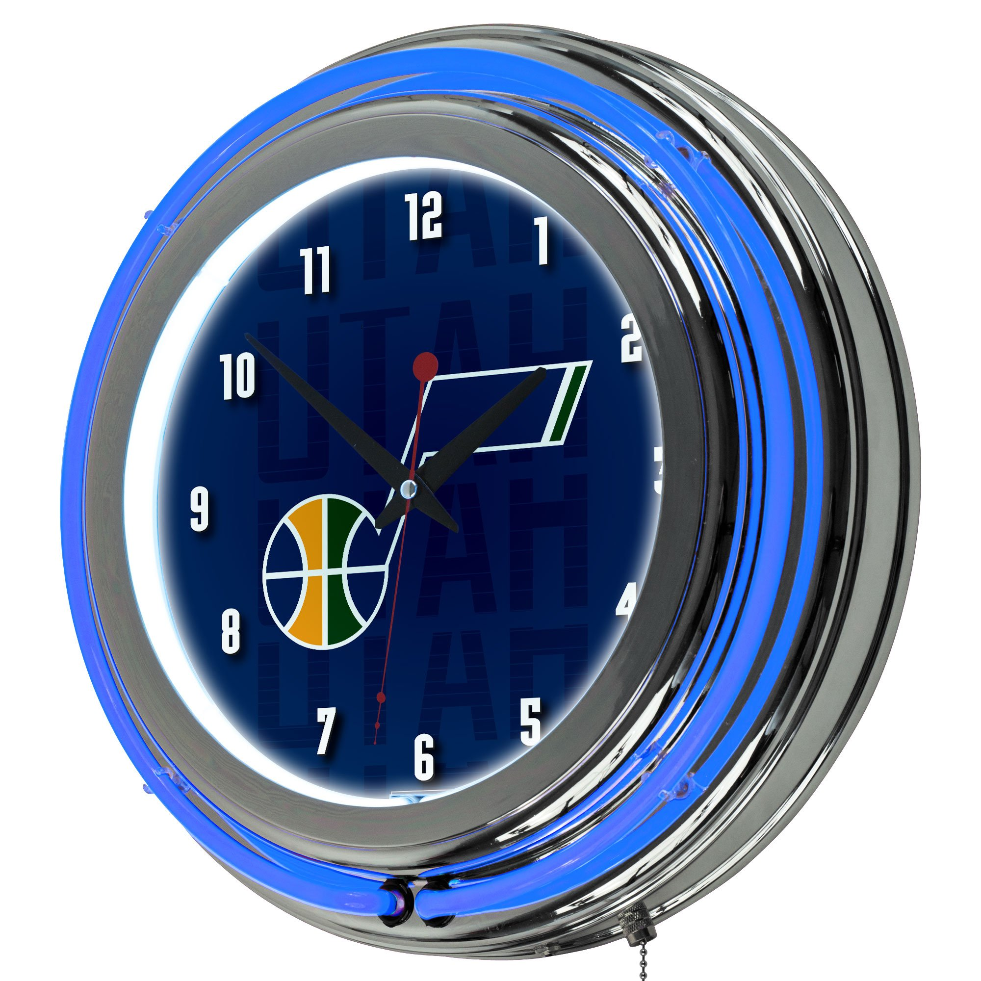 Trademark Gameroom NBA1400-UJ3 NBA Chrome Double Rung Neon Clock - City - Utah Jazz by Trademark Global