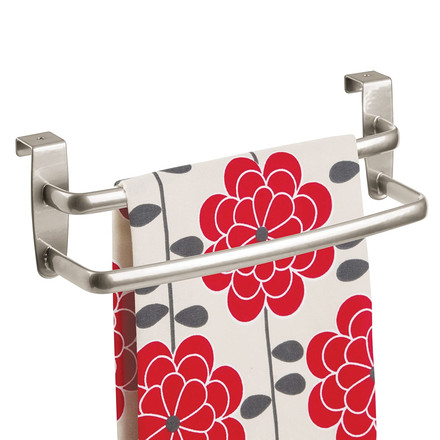 """mDesign Modern Kitchen Over Cabinet Strong Steel Double Towel Bar Rack - Hang on Inside or Outside of Doors - Storage and Organization for Hand, Dish, Tea Towels - 9.75"""" Wide - Brushed Nickel"""
