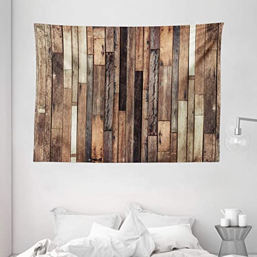 Ambesonne Wooden Tapestry, Brown Old Hardwood Floor Plank Grunge Lodge Garage Loft Natural Rural Graphic Print, Wide Wall Hanging for Bedroom Living Room Dorm, 80 X 60 , Dark Brown