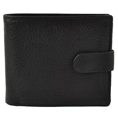 NEW MENS LEATHER Tabbed Bi-Fold WALLET by Woods Change Section VALUE Gift Box