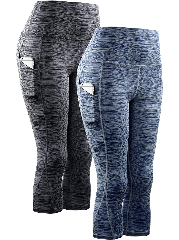 9034 Black Navy bluee,2 Pack Neleus High Waist Running Workout Leggings for Yoga with Pockets