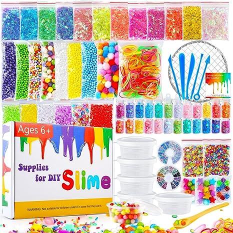 Pllieay 72 Pack Kit de Fabricación de Limo Incluyendo Bolas de Espuma, Tarros de Glitter, Pompones, Perlas de Pecera ...