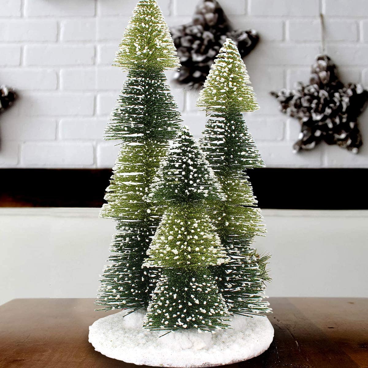 "Mini Christmas Tree, 3 in 1 Artificial Small Pine Tree Plastic Winter Snow Ornaments Tabletop Trees Decor 12""/30cm with Wooden Bases for Xmas Holiday Party Home Tabletop Tree"
