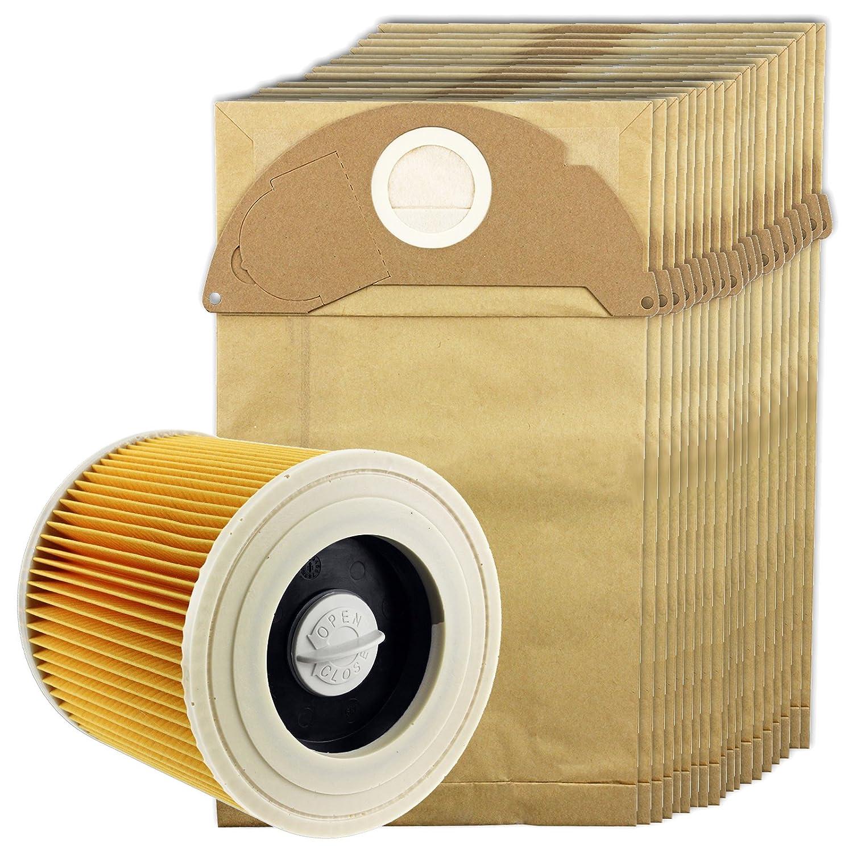 Spares2go Hoover bolsas y filtro de cartucho para aspiradora Karcher (filtro, 20 bolsas bolsa de palos ambientador + opcional) Filter + 20 Bags