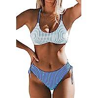 CUPSHE Women's Back Braided Straps Reversible Bottem Strappy Lace Up Bikini Sets