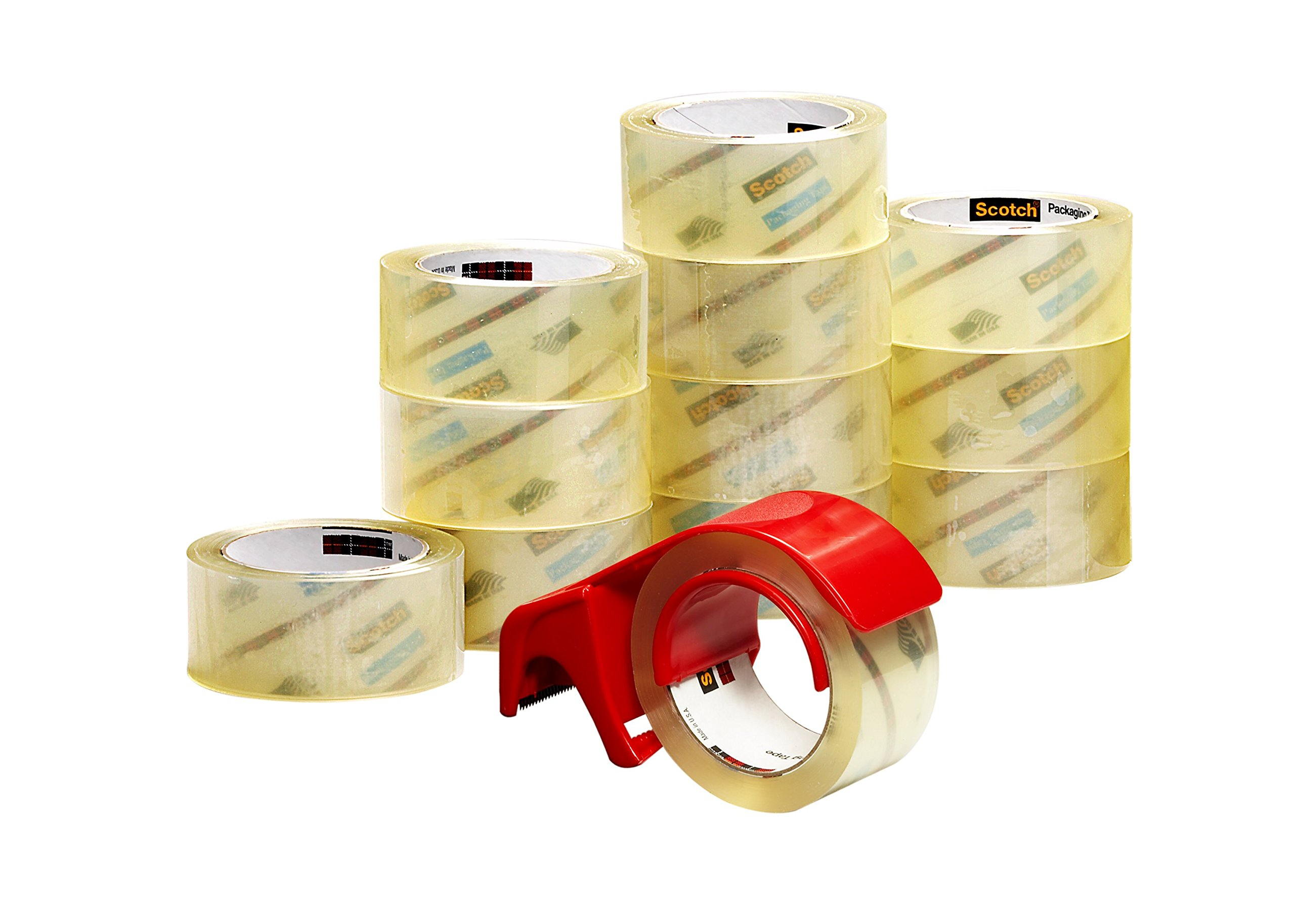 Scotch Commercial Grade Shipping Packaging Tape, 1.88 in x 54.6 yd, 12 Rolls with Refillable Dispenser (3750-12-DP3)