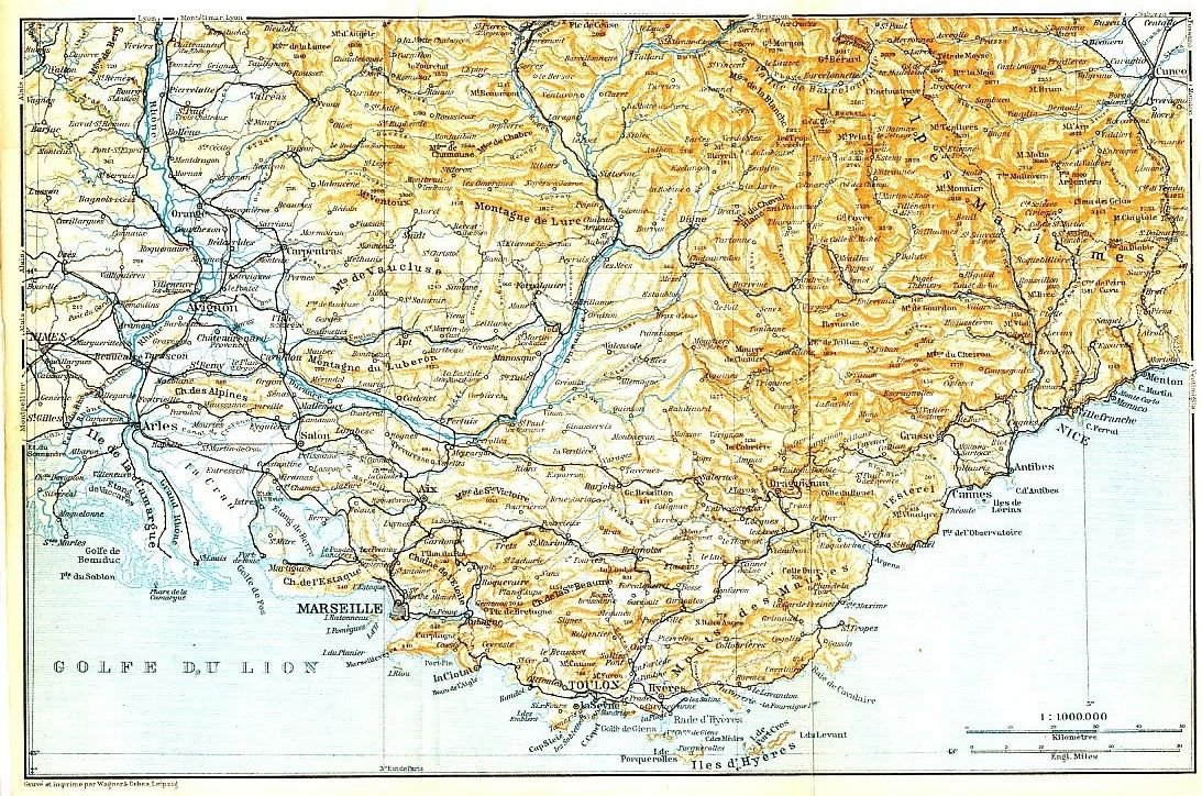 Map Of France Detailed.Amazon Com Nice To Marseille French Coast 1913 Detailed