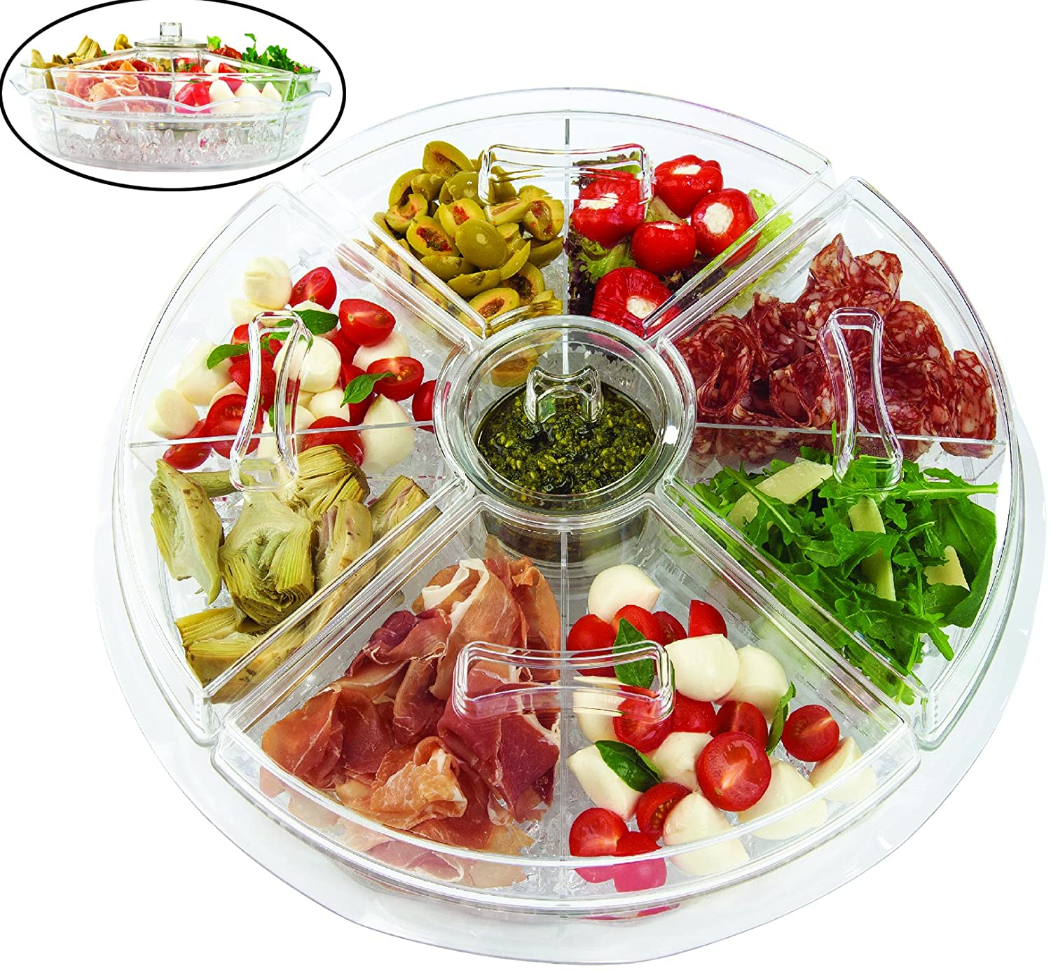 Jumbl 8-Section Ice-Chilled Revolving Appetizer Tray w/Vented Ice Chamber JUM-009