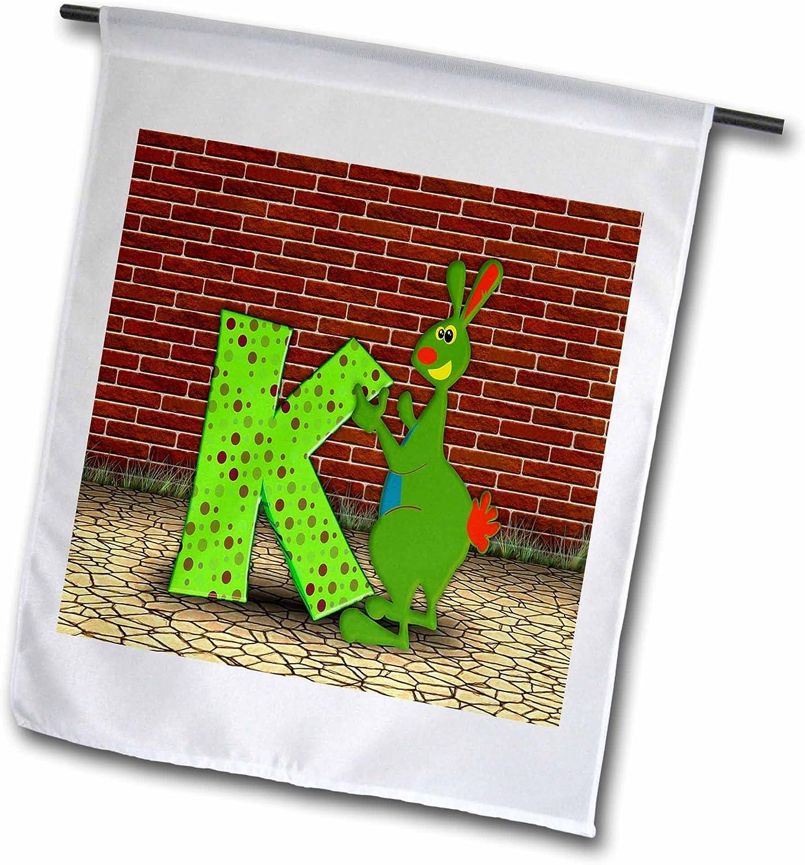 3dRose Florene - Childrens Art IV - Print of Adorable k is for Kangaroo - 12 x 18 inch Garden Flag (fl_204390_1)