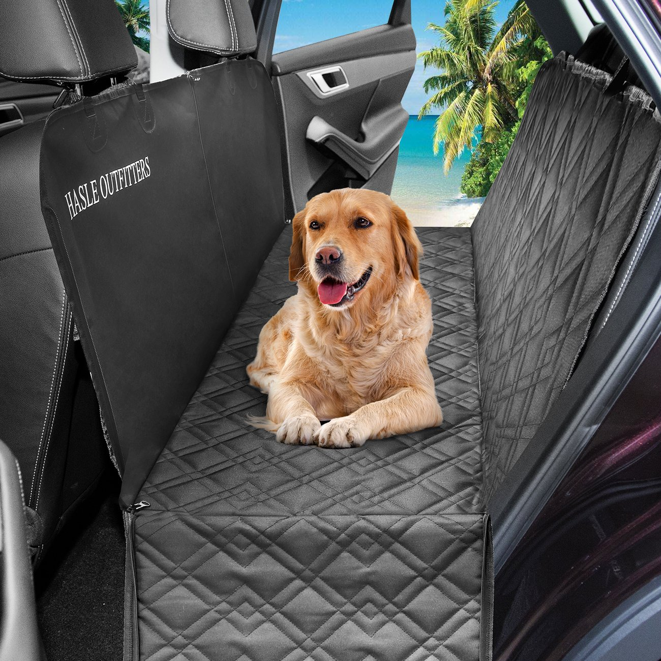 HASLE OUTFITTERS Dog Car Seat Covers, Waterproof Dog Car Hammock, Pet Seat Cover for Cars, Trucks, SUV, 54'' W x 58'' L - Black