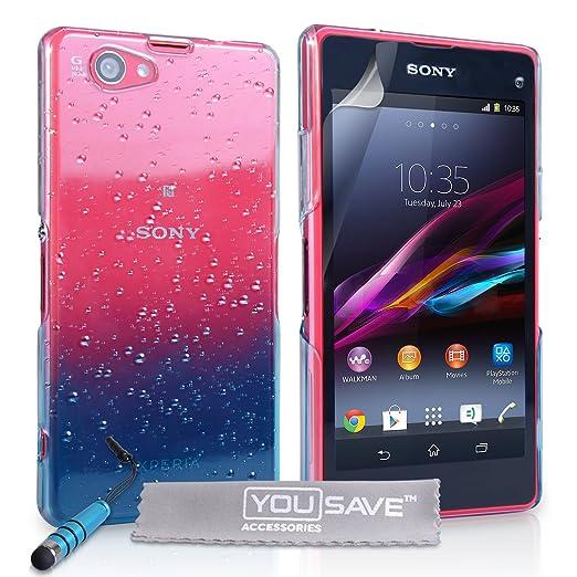 2 opinioni per Yousave Accessories Cover Per Sony Xperia Z1 Compact Goccia di Pioggia Chiaro /