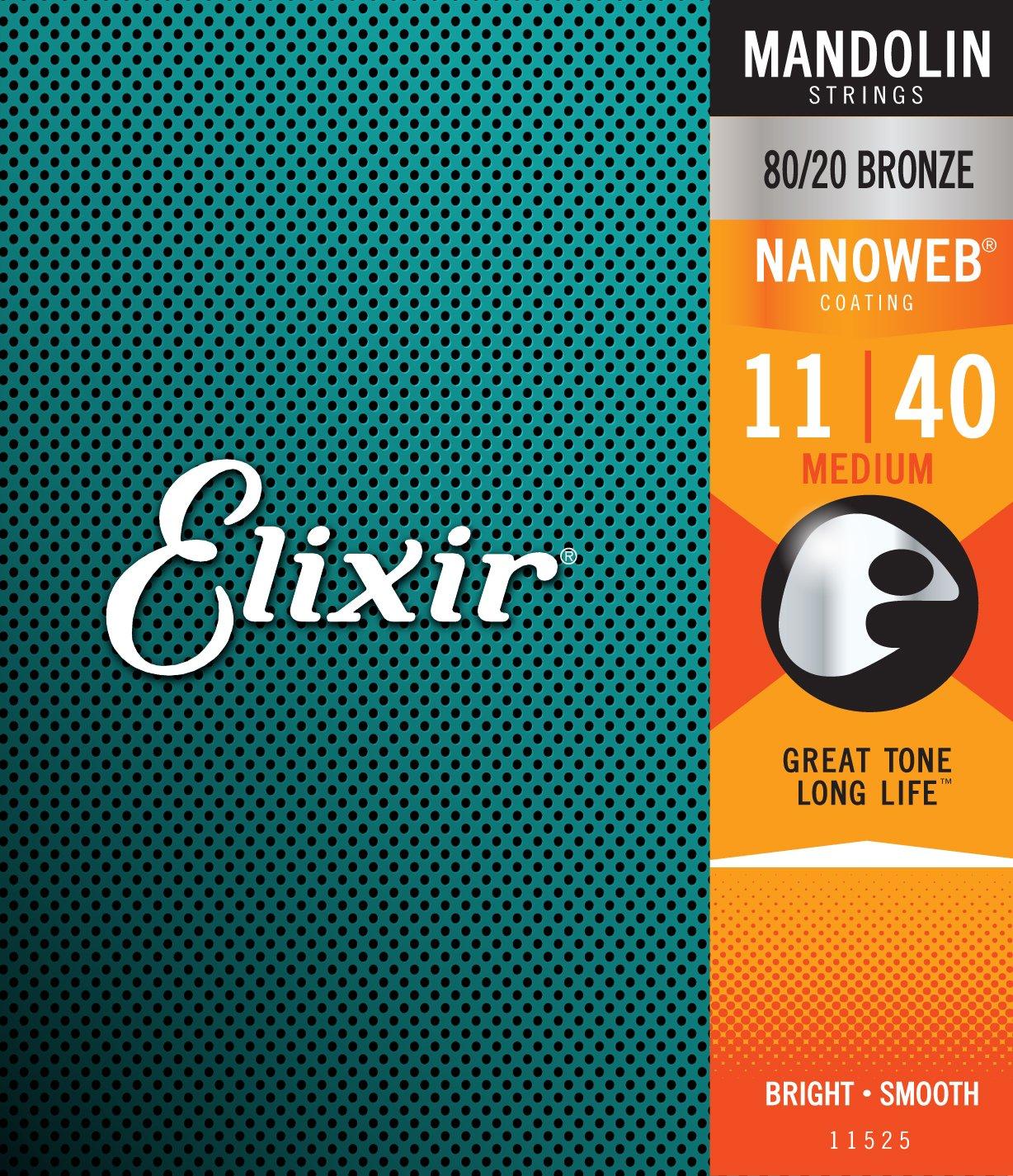 Elixir Strings Mandolin Strings w NANOWEB Coating, Medium (.011-.040) W.L. Gore & Associates Inc. 11525