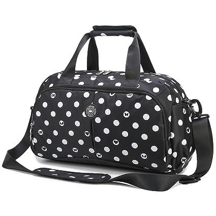 AOKE AOKE Petit sac de voyage Weekender Sac de voyage Holdall Duffle Bagage avec bandoulière réglable pour voyage court Noir Candy couleur avec cadeau pratique (serrure) u8e8p6