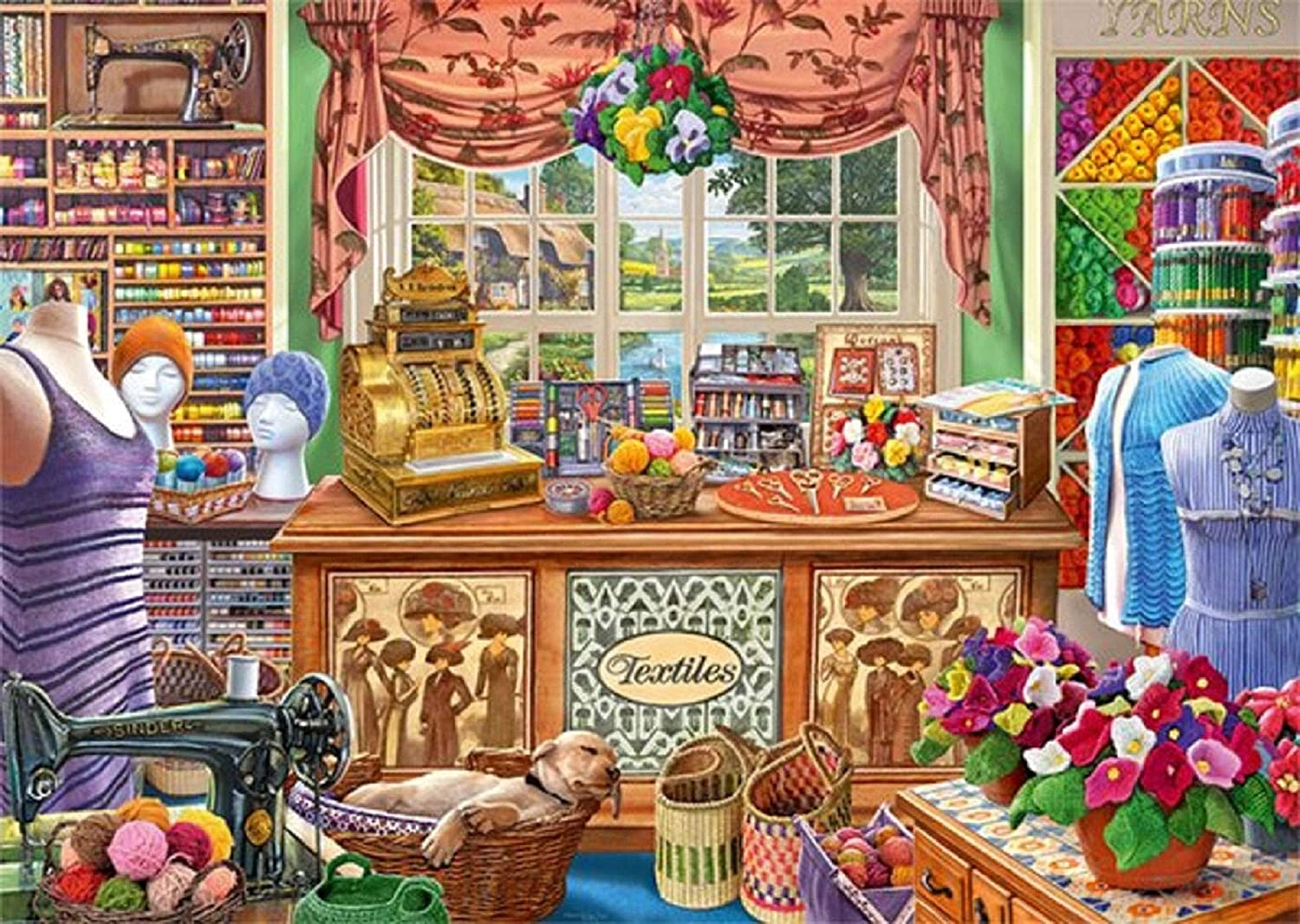 Falcon de Luxe Puzzles for Adult Kids 1000 Piece Jigsaw Puzzle, The Haberdasher's Shoppe, Jumbo 11256, Puzzle & Fun Fact Poster & Decompressing Fun Family Game