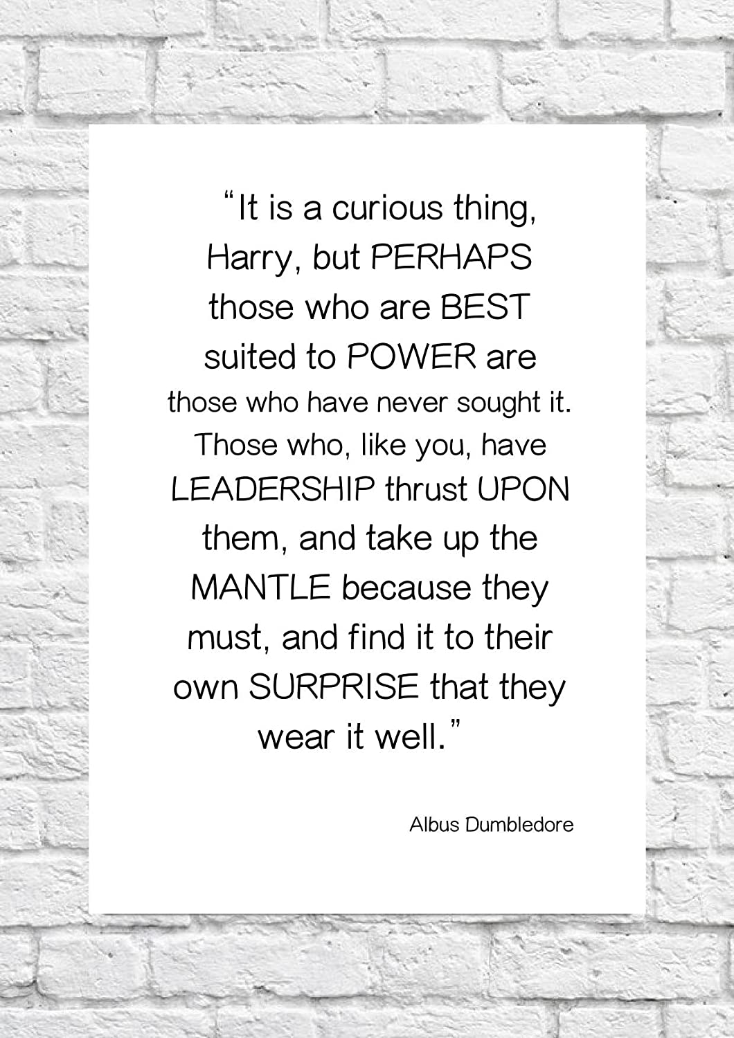 Albus Dumbledore Harry Potter Suited Power Quote Poster Art Unframed Print