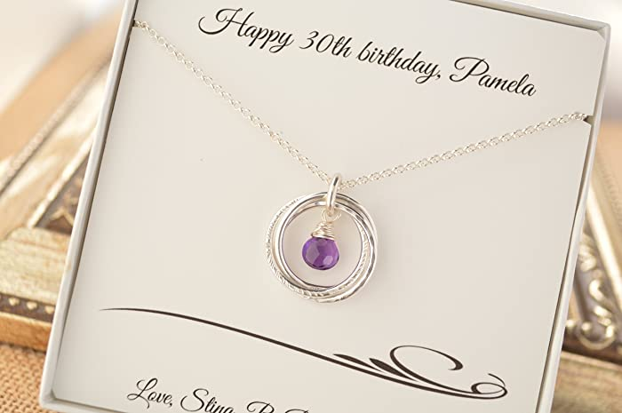 30th Birthday Gift For Daughter 3 Rings Necklace February Birthstone Sister