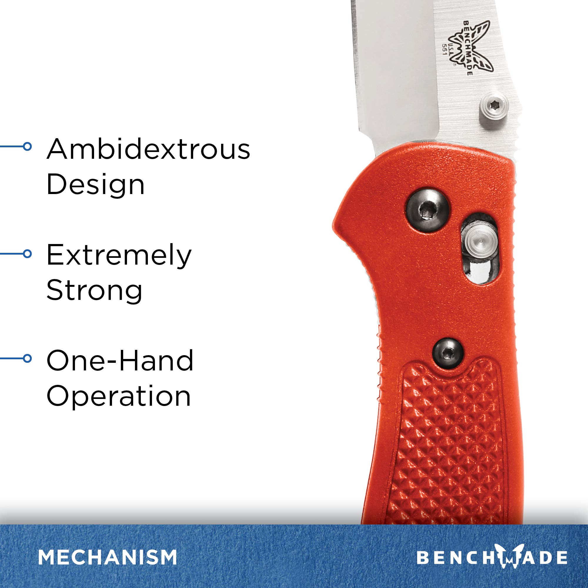 Benchmade - Griptilian 551 Knife with CPM-S30V Steel, Drop-Point Blade, Plain Edge, Satin Finish, Orange Handle by Benchmade (Image #5)