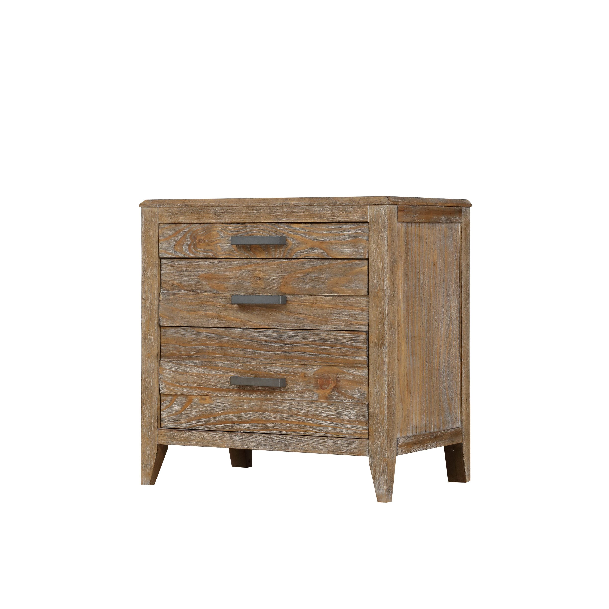 Emerald Home Torino Weathered Brown Nightstand with Three Drawers And Brushed Nickle Hardware