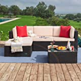 Tuoze 5 Pieces Patio Furniture Sectional Outdoor PE Rattan Wicker Lawn Conversation Cushioned Garden Sofa Set with Glass Coff