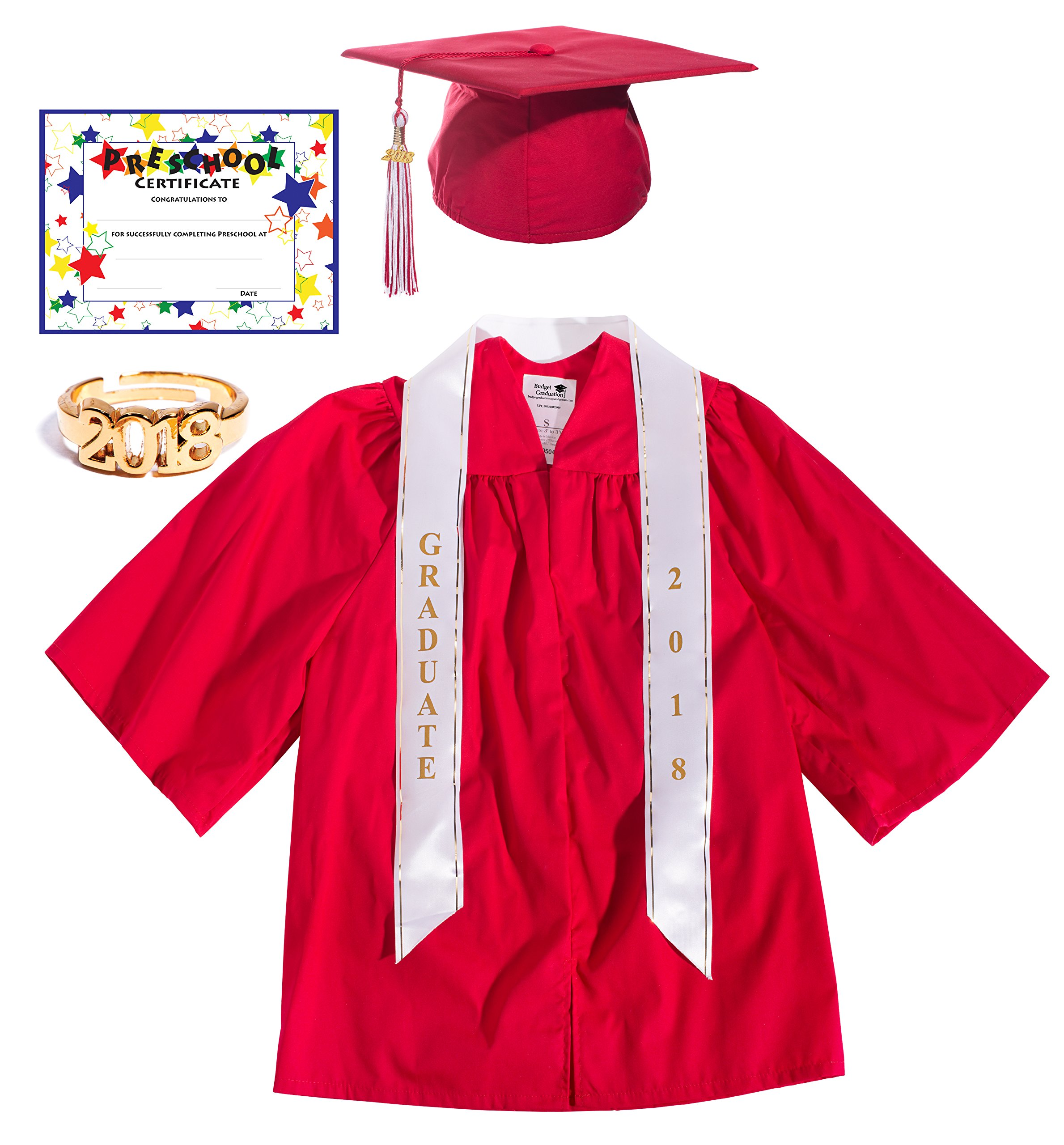 Red Deluxe Matte Preschool Graduation Set - Large, 7-Piece Set