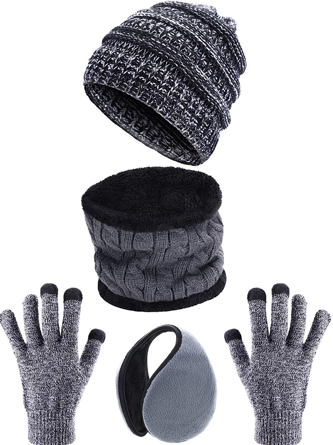 4 Pieces Ski Warm Set Includes Winter Beanie Hat Circle Scarf Outdoor Gloves and Ear Warmer for Adults Kids