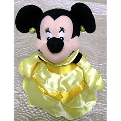 "Retired Disney Unique Minnie Mouse 8"" Plush Bean Bag Doll Dressed as Beauty and the Beast Princess Belle: Toys & Games"