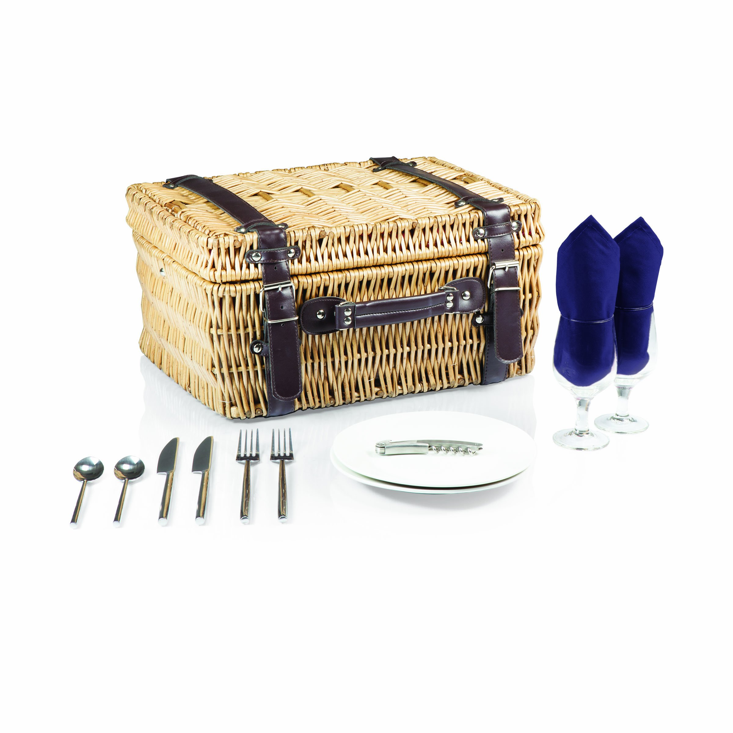 Picnic Time Champion Picnic Basket with Deluxe Service for 2, Navy