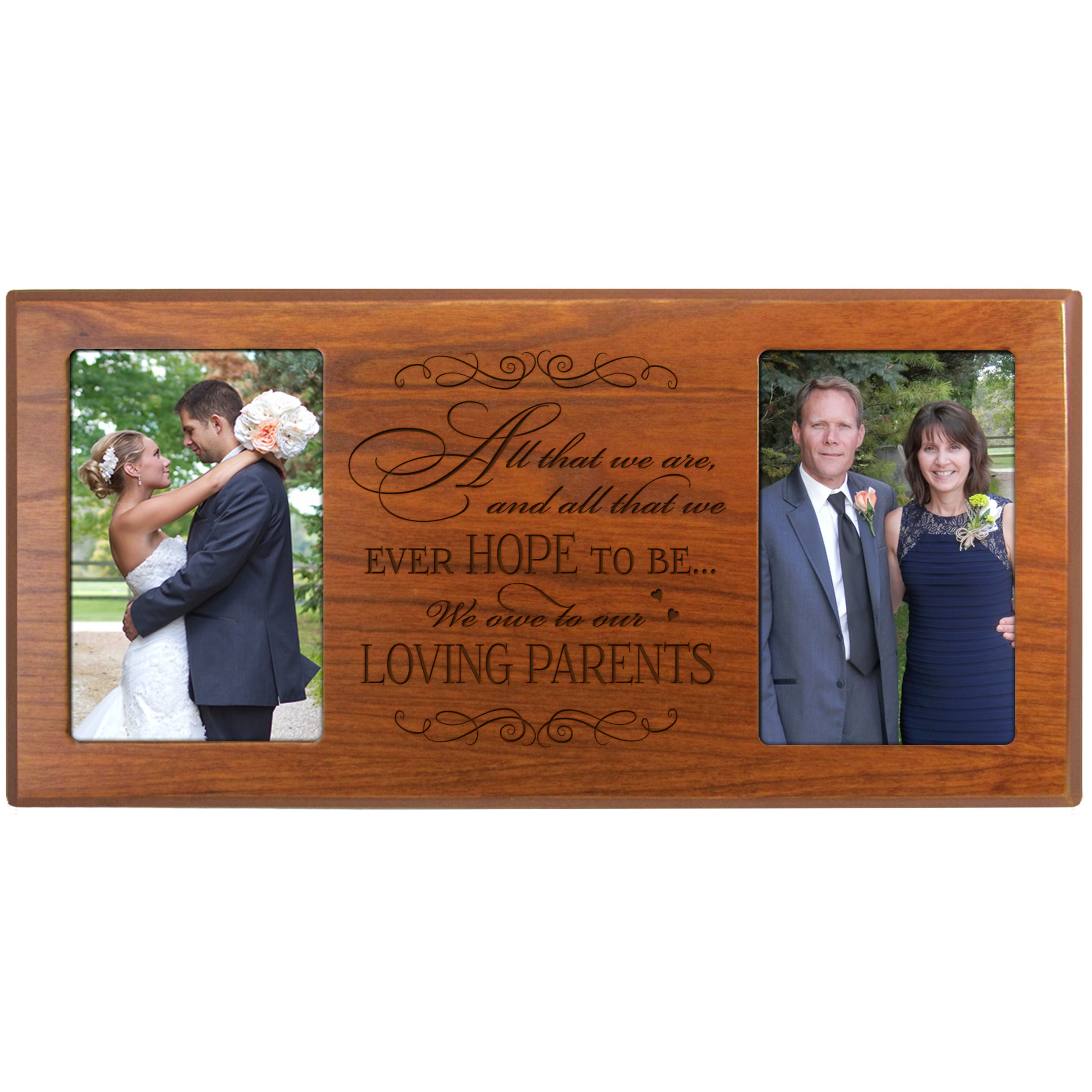 Parent Wedding Gifts Wedding Picture Frame Wedding Gift for Parents Mom and Dad Thank You Gifts 16'' W X 8'' H '' Exclusively From LifeSong Milestones (Cherry)s