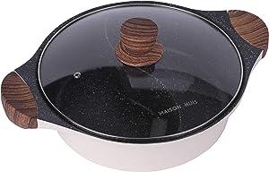 MAISON HUIS Double-Flavor Die Cast Alum Hot Pot 3.8 Quart with Divider and Glass Lid, Shabu Shabu Pot with Nonstick Granite Coating, 11.02inch Diameter Color Coin