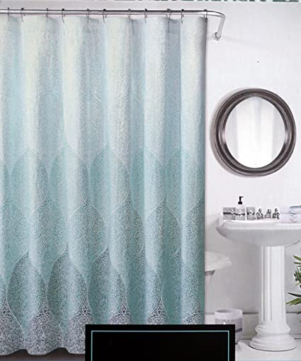 Cynthia Rowley Fabric Shower Curtain Stamped Ombre Teal And White