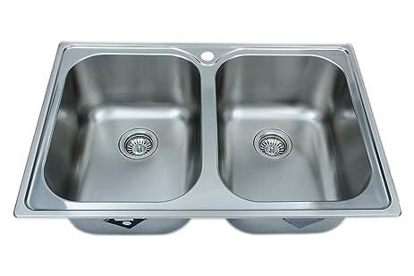 Wells Sinkware GLT3322-99LG 18-Gauge Double Bowl Top-Mount Kitchen ...