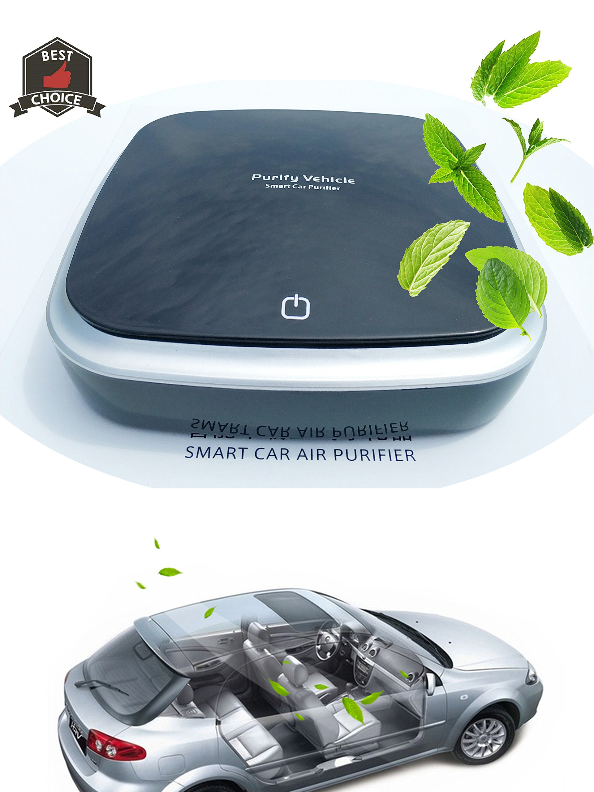 HiRui Car Air Purifier, Negative ions Car Air Freshener Ionic Air Cleaner Aromatherapy Diffusers, HEPA/HESA Filter Net | Best Odors Eliminator Remove Formaldehyde, Tobacco Smoke (Black)