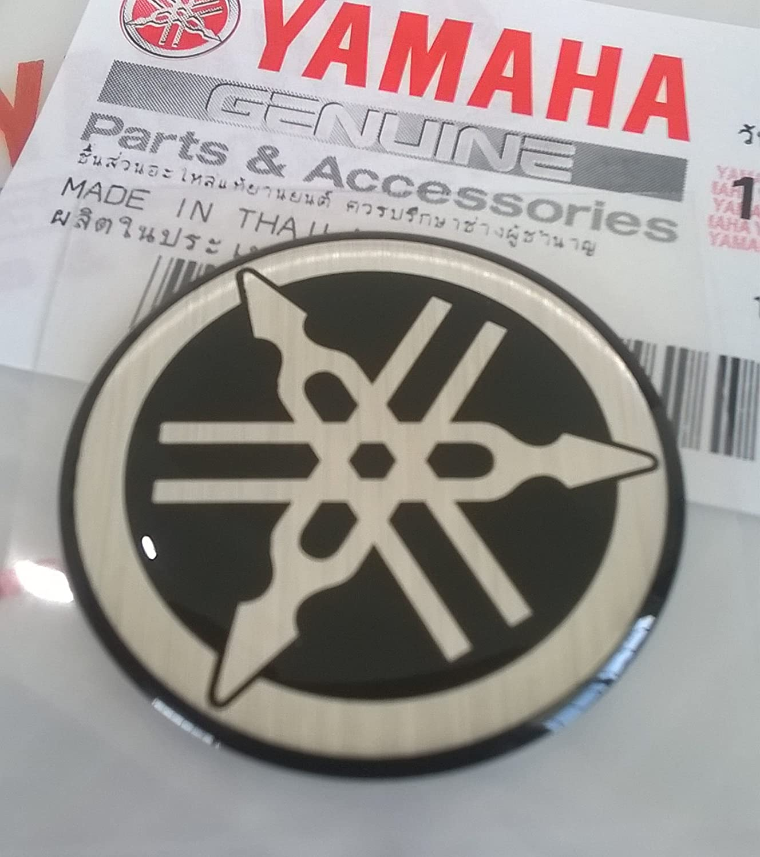 Yamaha 5HV-F3108-20 - Genuine 30MM Diameter Yamaha Tuning Fork Decal Sticker Emblem Logo Black / Silver Raised Domed Gel Resin Self Adhesive Motorcycle / Jet Ski / ATV / Snowmobile