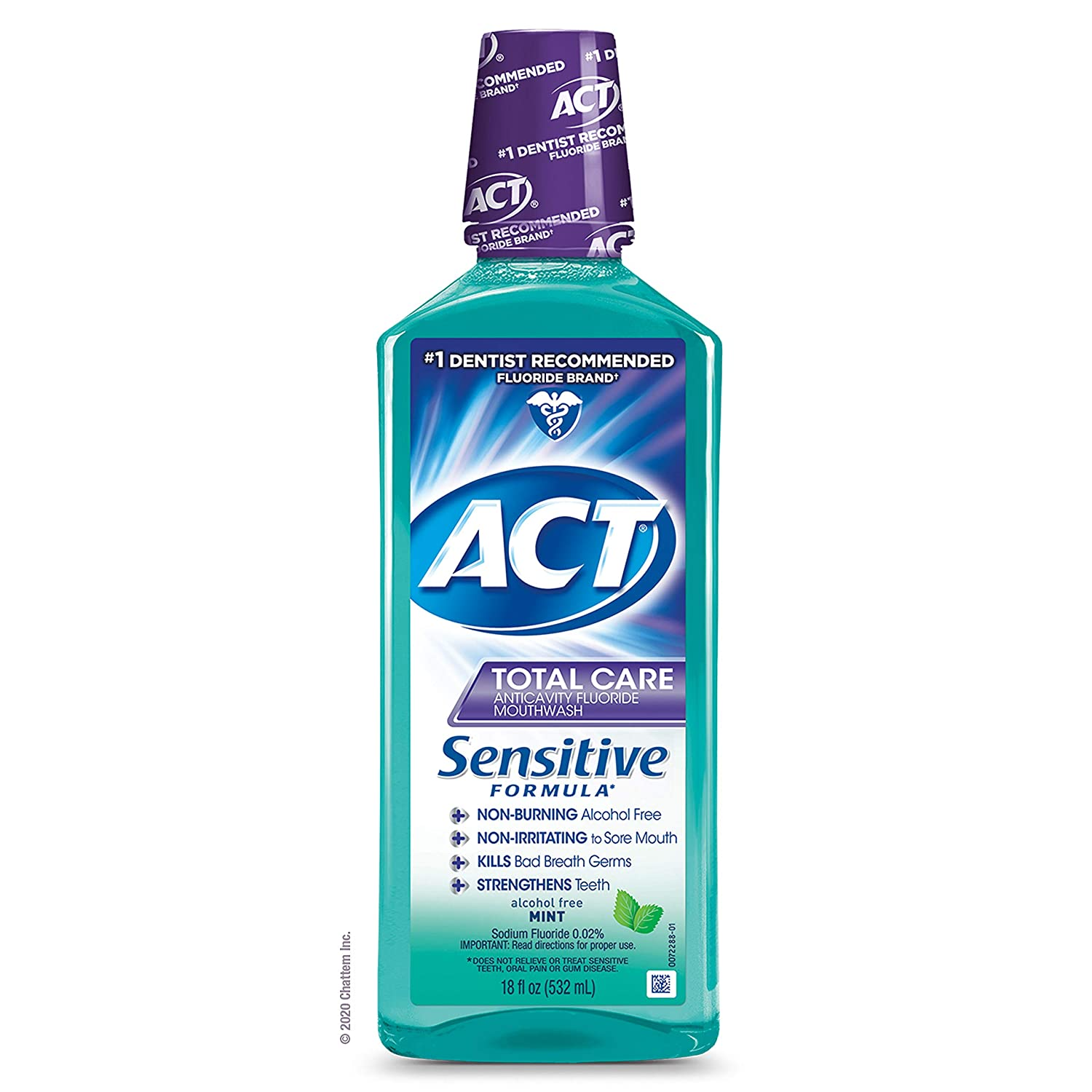 ACT Total Care Sensitive Formula Mouthwash 18 fl. oz. Anticavity Mouthwash With Fluoride, Mint