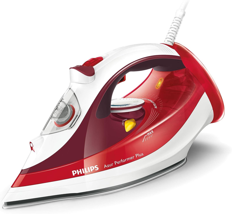 Philips Azur Performer Plus GC4516/40 - Plancha de vapor, 2400W, golpe de vapor 190g, vapor de 45g/min, 0.3 litros, Suela StreamGlide Plus, Acero Inoxidable, Rojo