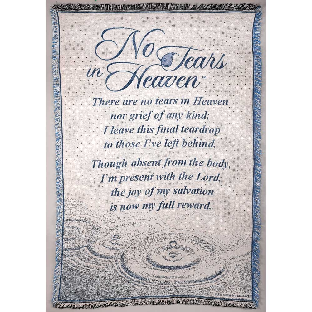 No Tears in Heaven Memorial 46 x 68 All Cotton Tapestry Throw Blanket