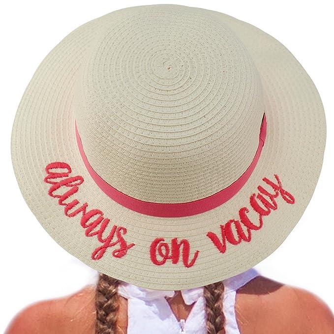 d150981ababc0 C.C Girls Kids Wording Sayings Summer Beach Pool Floppy Dress Sun  Adjustable Hat Always on Vacay