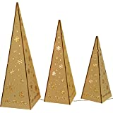 WeRChristmas Wooden Pyramid Christmas Trees with Warm White LED Lights Decoration - Multi-Colour, Set of 3