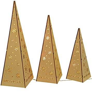 WeRChristmas Wooden Pyramid Christmas Trees with Warm White LED ...